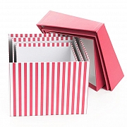 GIFT BOX STRIPE SQUARE HOT PINK S/3 20 X 15H
